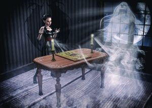girl summoning ghosts with spirit board