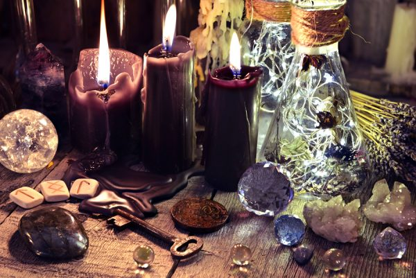 crystals, runes, and candles