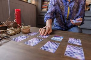 Fin, haut, tarot, cartes, mensonge, table