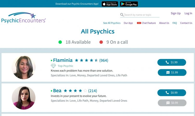 image of psychicencounters.com website